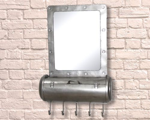 100cm Iron Industrial Storage Mirror With Hooks